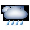 apmācies, stiprs lietus